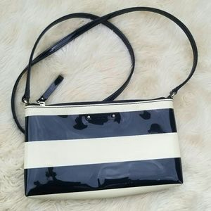 Kate Spade black and white stripe cross body bag